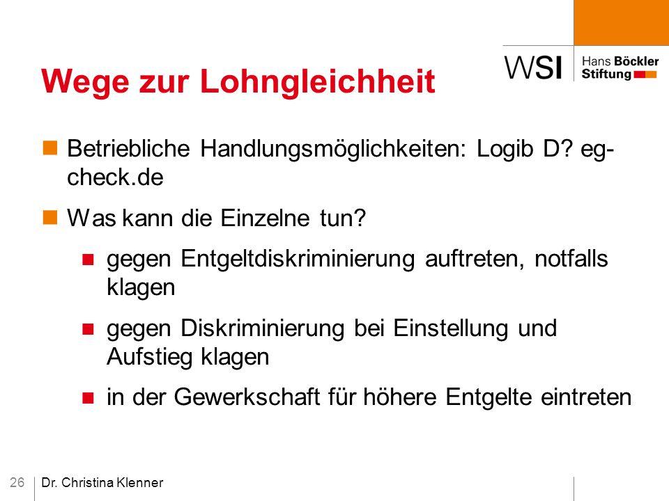 Dr. Christina Klenner26 Wege zur Lohngleichheit Betriebliche Handlungsmöglichkeiten: Logib D.