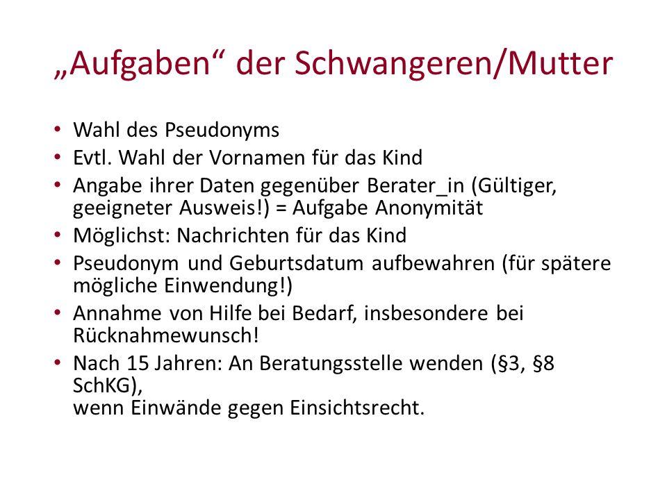 """Aufgaben der Schwangeren/Mutter Wahl des Pseudonyms Evtl."