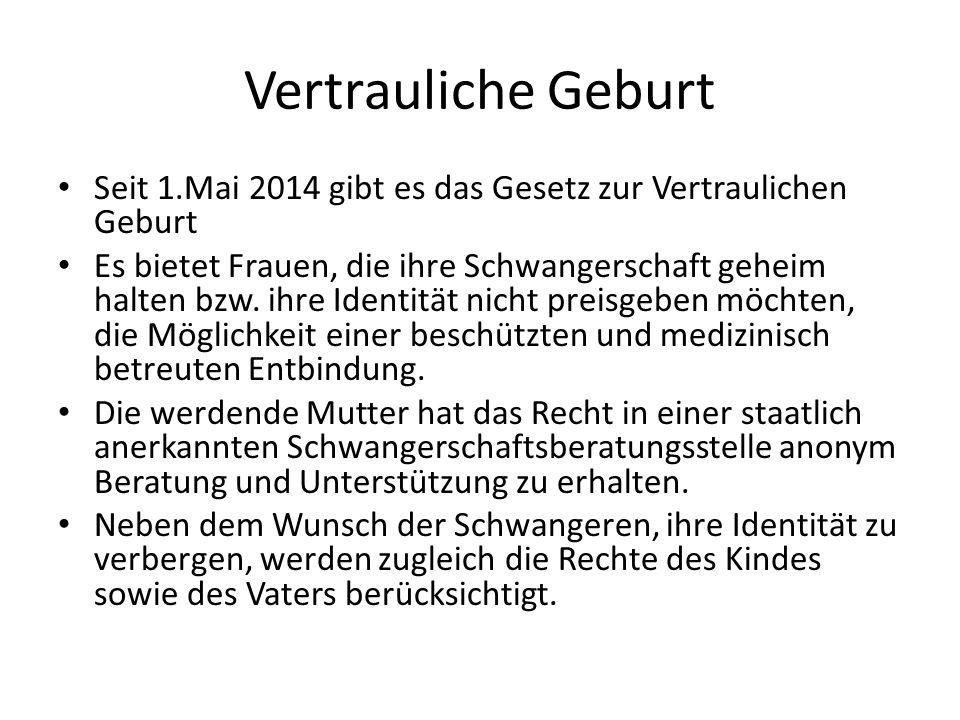 Informationen http://www.profamilia.de/fileadmin/publikati onen/Fachpublikationen/Vertrauliche_Geburt- 2014_final.pdf http://www.profamilia.de/fileadmin/publikati onen/Fachpublikationen/Vertrauliche_Geburt- 2014_final.pdf https://www.geburt- vertraulich.de/fileadmin/downloads/BMFSFJ_ VertraulicheGeburt_Pocketinfo_14_RZ_web.p df https://www.geburt- vertraulich.de/fileadmin/downloads/BMFSFJ_ VertraulicheGeburt_Pocketinfo_14_RZ_web.p df