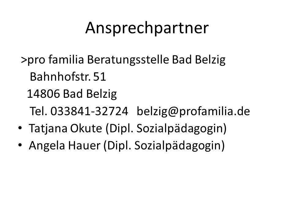 Ansprechpartner >pro familia Beratungsstelle Bad Belzig Bahnhofstr.