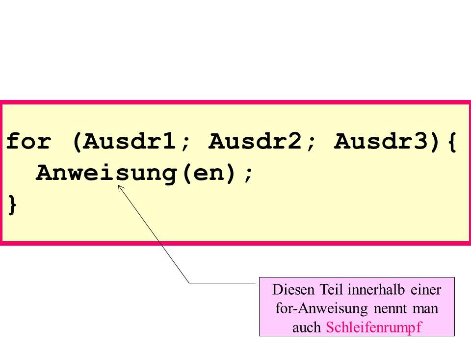 for (Ausdr1; Ausdr2; Ausdr3){ Anweisung(en); } Diesen Teil innerhalb einer for-Anweisung nennt man auch Schleifenrumpf