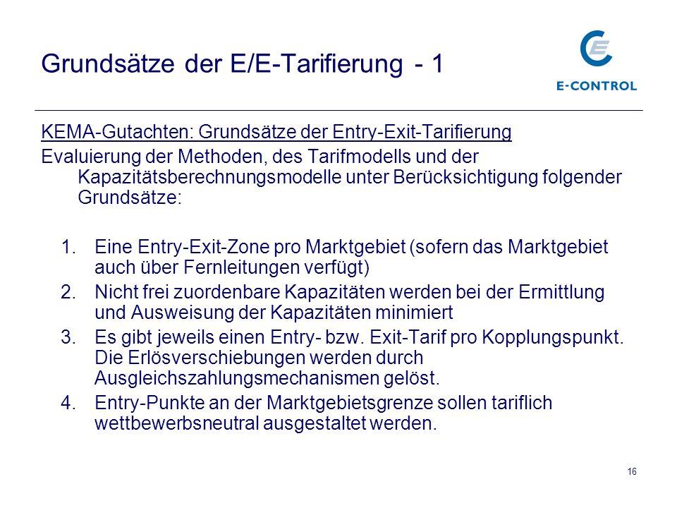 16 Grundsätze der E/E-Tarifierung - 1 KEMA-Gutachten: Grundsätze der Entry-Exit-Tarifierung Evaluierung der Methoden, des Tarifmodells und der Kapazitätsberechnungsmodelle unter Berücksichtigung folgender Grundsätze: 1.Eine Entry-Exit-Zone pro Marktgebiet (sofern das Marktgebiet auch über Fernleitungen verfügt) 2.Nicht frei zuordenbare Kapazitäten werden bei der Ermittlung und Ausweisung der Kapazitäten minimiert 3.Es gibt jeweils einen Entry- bzw.