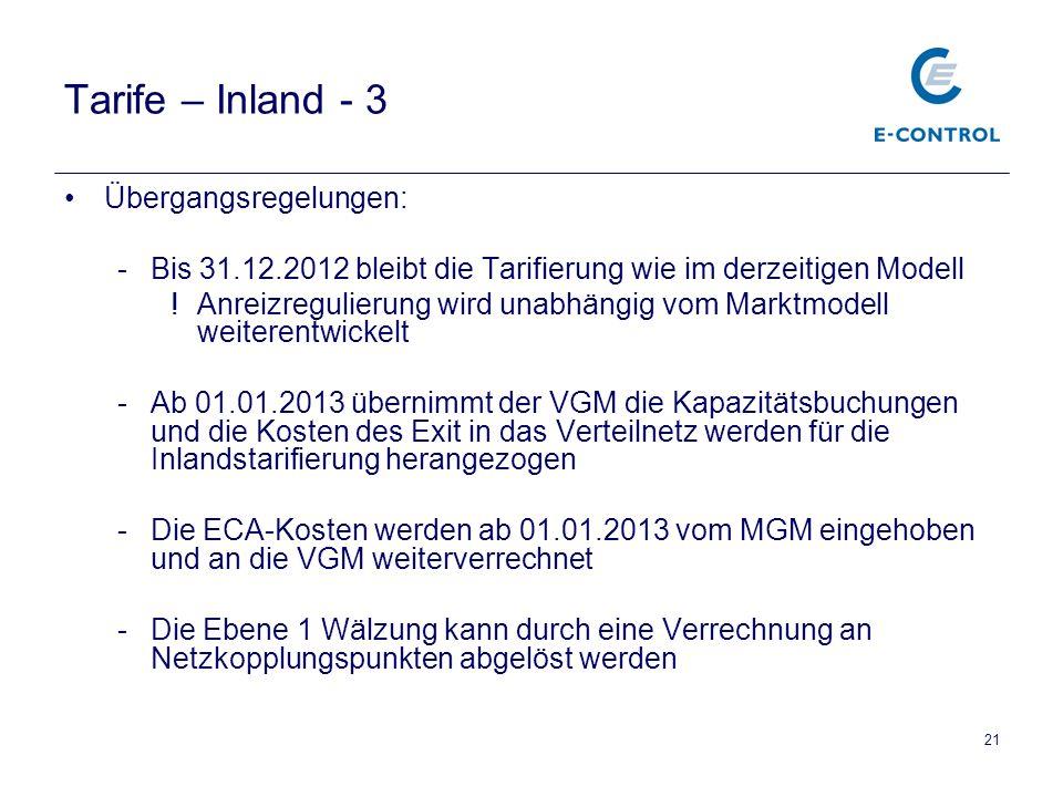 21 Tarife – Inland - 3 Übergangsregelungen: -Bis 31.12.2012 bleibt die Tarifierung wie im derzeitigen Modell !Anreizregulierung wird unabhängig vom Marktmodell weiterentwickelt -Ab 01.01.2013 übernimmt der VGM die Kapazitätsbuchungen und die Kosten des Exit in das Verteilnetz werden für die Inlandstarifierung herangezogen -Die ECA-Kosten werden ab 01.01.2013 vom MGM eingehoben und an die VGM weiterverrechnet -Die Ebene 1 Wälzung kann durch eine Verrechnung an Netzkopplungspunkten abgelöst werden
