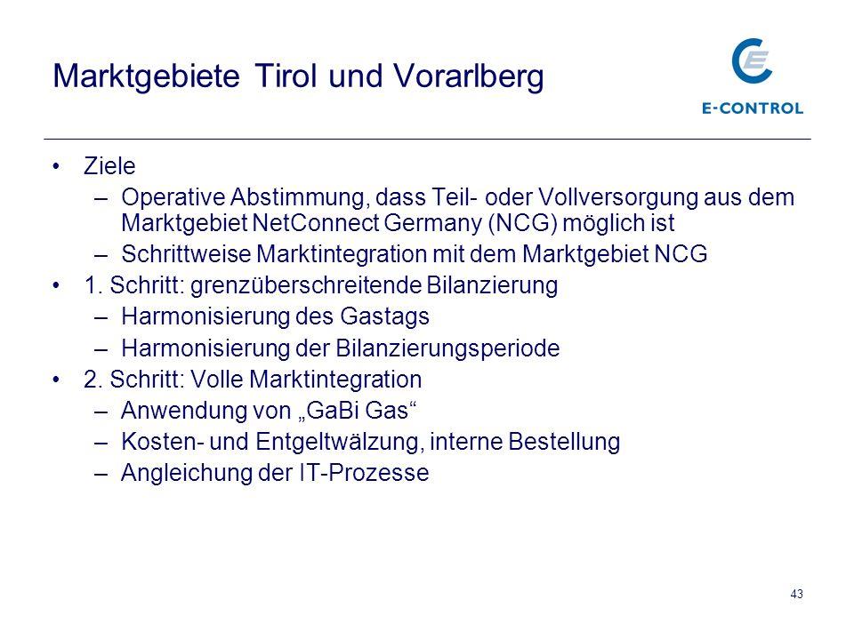 43 Marktgebiete Tirol und Vorarlberg Ziele –Operative Abstimmung, dass Teil- oder Vollversorgung aus dem Marktgebiet NetConnect Germany (NCG) möglich ist –Schrittweise Marktintegration mit dem Marktgebiet NCG 1.