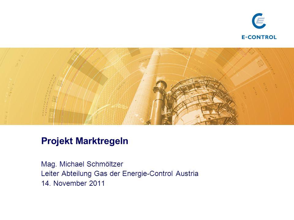 Projekt Marktregeln Mag. Michael Schmöltzer Leiter Abteilung Gas der Energie-Control Austria 14.