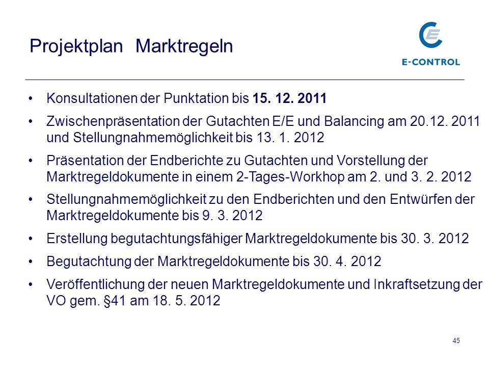 45 Projektplan Marktregeln Konsultationen der Punktation bis 15.