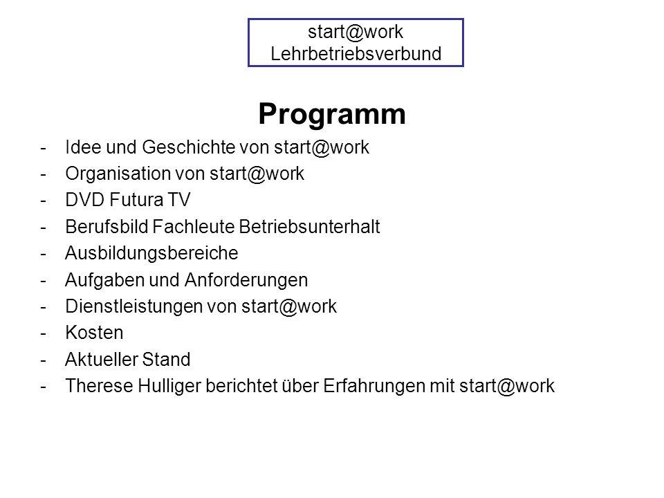 Programm -Idee und Geschichte von start@work -Organisation von start@work -DVD Futura TV -Berufsbild Fachleute Betriebsunterhalt -Ausbildungsbereiche