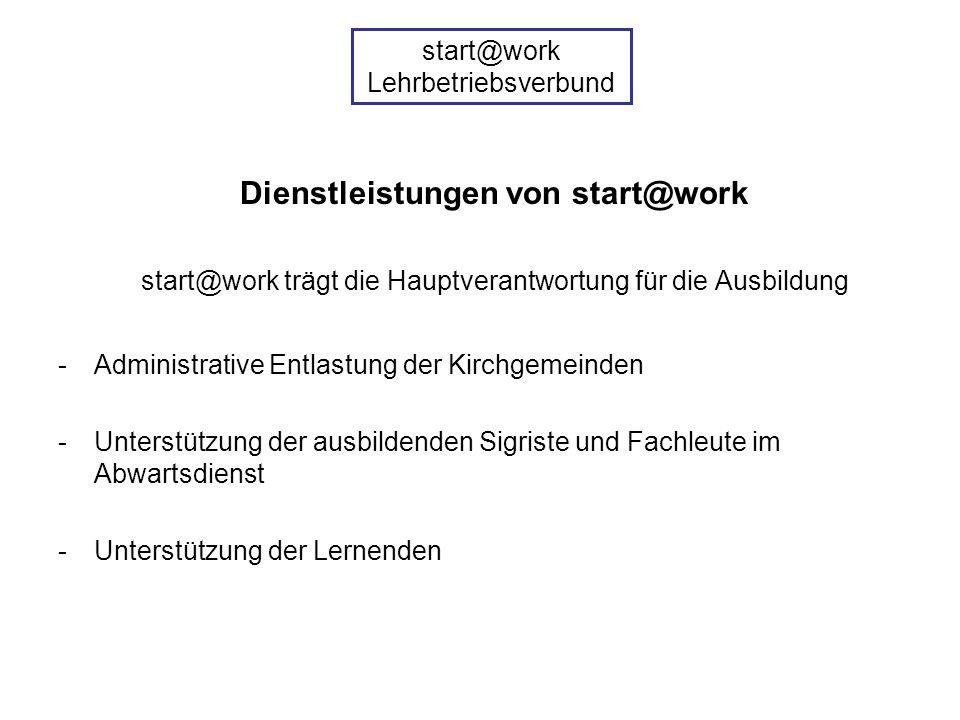 Dienstleistungen von start@work start@work trägt die Hauptverantwortung für die Ausbildung -Administrative Entlastung der Kirchgemeinden -Unterstützung der ausbildenden Sigriste und Fachleute im Abwartsdienst -Unterstützung der Lernenden start@work Lehrbetriebsverbund