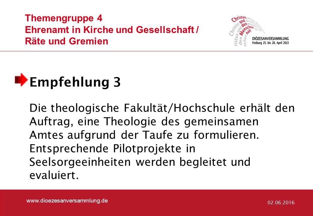 Themengruppe 4 Ehrenamt in Kirche und Gesellschaft / Räte und Gremien www.dioezesanversammlung.de 02.06.2016 Empfehlung 3 Die theologische Fakultät/Ho
