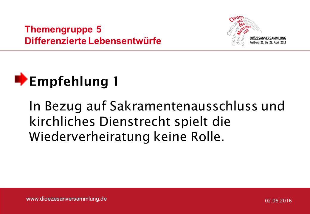 Themengruppe 5 Differenzierte Lebensentwürfe www.dioezesanversammlung.de 02.06.2016 Empfehlung 1 In Bezug auf Sakramentenausschluss und kirchliches Di
