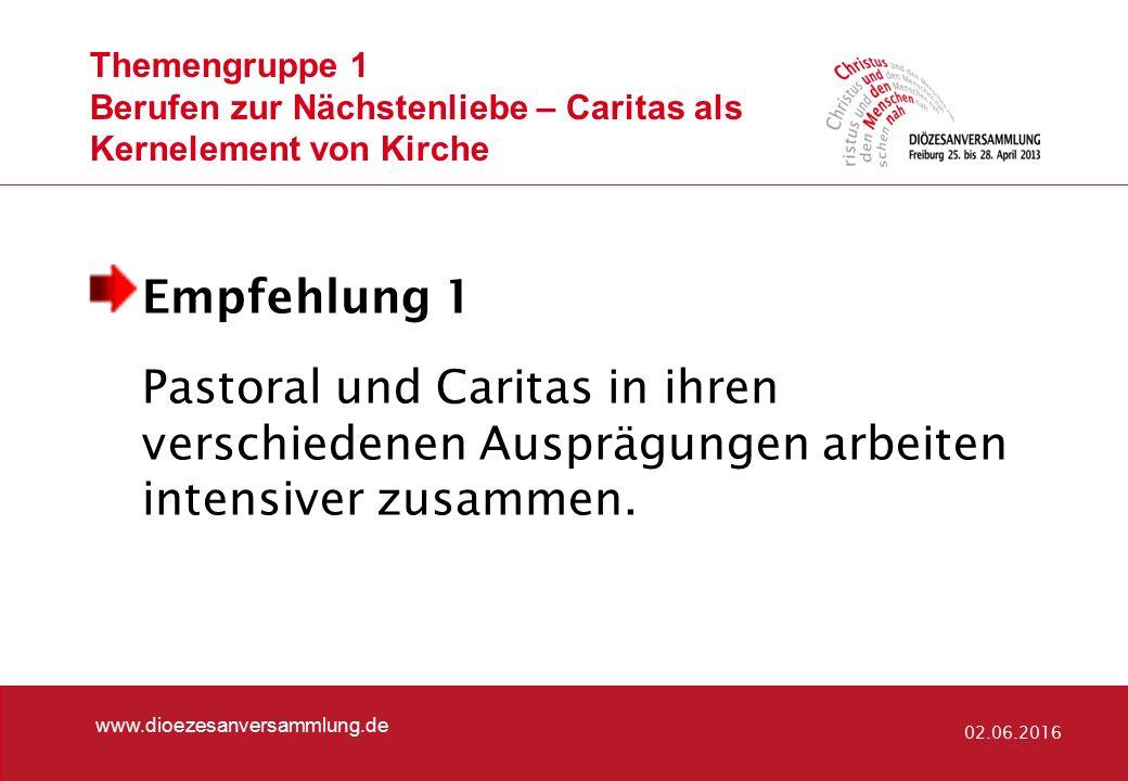 Themengruppe 1 Berufen zur Nächstenliebe – Caritas als Kernelement von Kirche Empfehlung 1 Pastoral und Caritas in ihren verschiedenen Ausprägungen arbeiten intensiver zusammen.