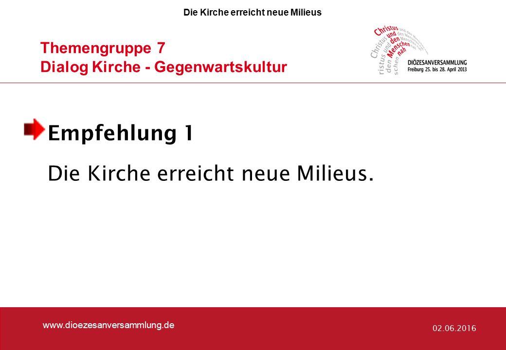 Themengruppe 7 Dialog Kirche - Gegenwartskultur www.dioezesanversammlung.de 02.06.2016 Empfehlung 1 Die Kirche erreicht neue Milieus. Die Kirche errei