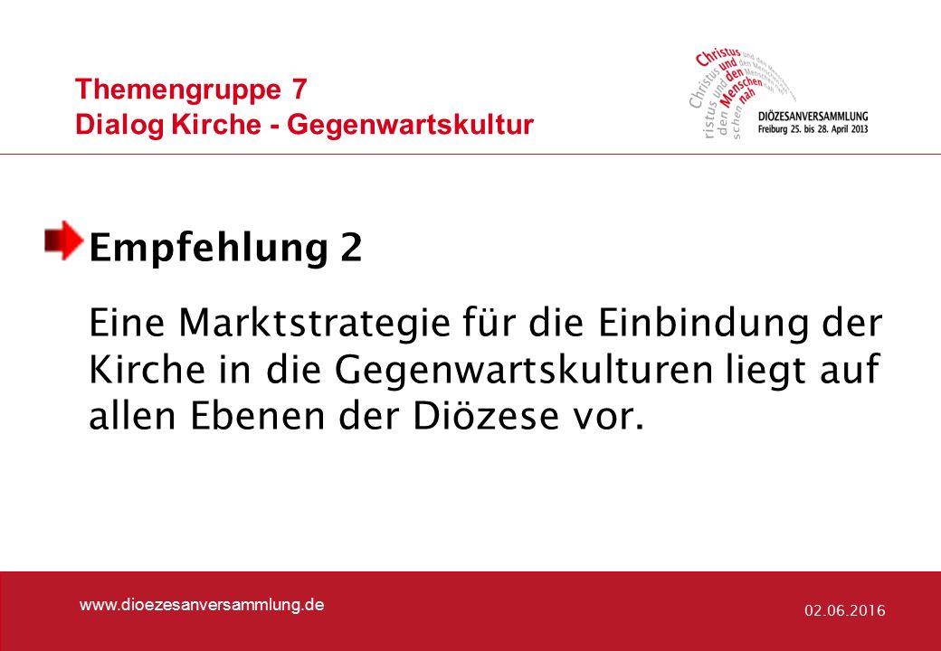 Themengruppe 7 Dialog Kirche - Gegenwartskultur www.dioezesanversammlung.de 02.06.2016 Empfehlung 2 Eine Marktstrategie für die Einbindung der Kirche in die Gegenwartskulturen liegt auf allen Ebenen der Diözese vor.