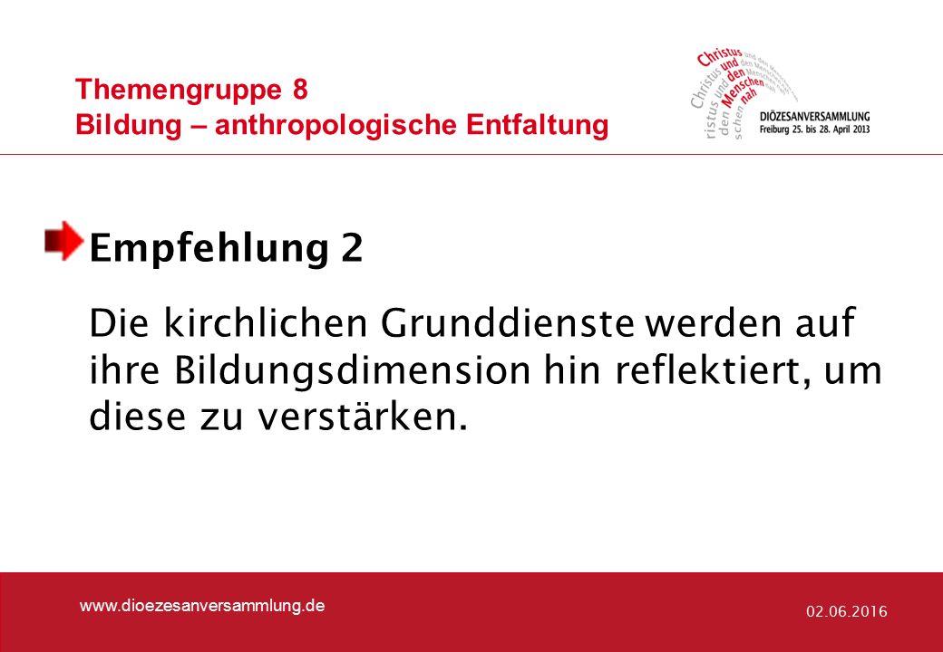 Themengruppe 8 Bildung – anthropologische Entfaltung www.dioezesanversammlung.de 02.06.2016 Empfehlung 2 Die kirchlichen Grunddienste werden auf ihre