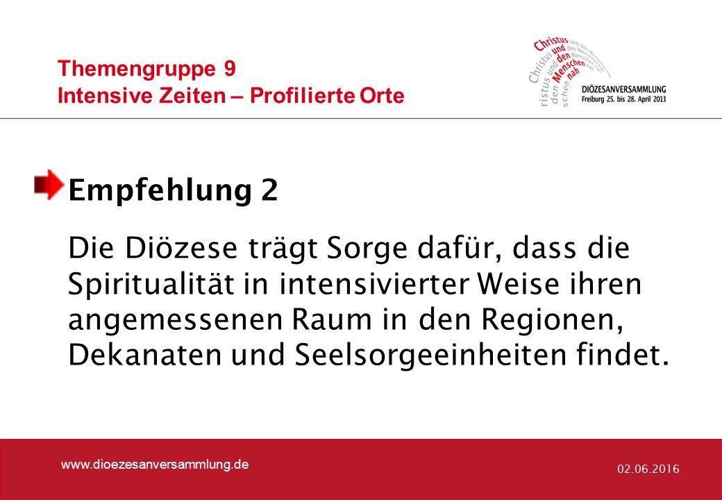 Themengruppe 9 Intensive Zeiten – Profilierte Orte www.dioezesanversammlung.de 02.06.2016 Empfehlung 2 Die Diözese trägt Sorge dafür, dass die Spiritu