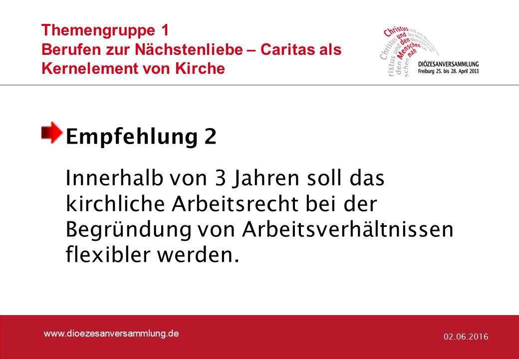 Themengruppe 5 Differenzierte Lebensentwürfe www.dioezesanversammlung.de 02.06.2016 Empfehlung 1 In Bezug auf Sakramentenausschluss und kirchliches Dienstrecht spielt die Wiederverheiratung keine Rolle.