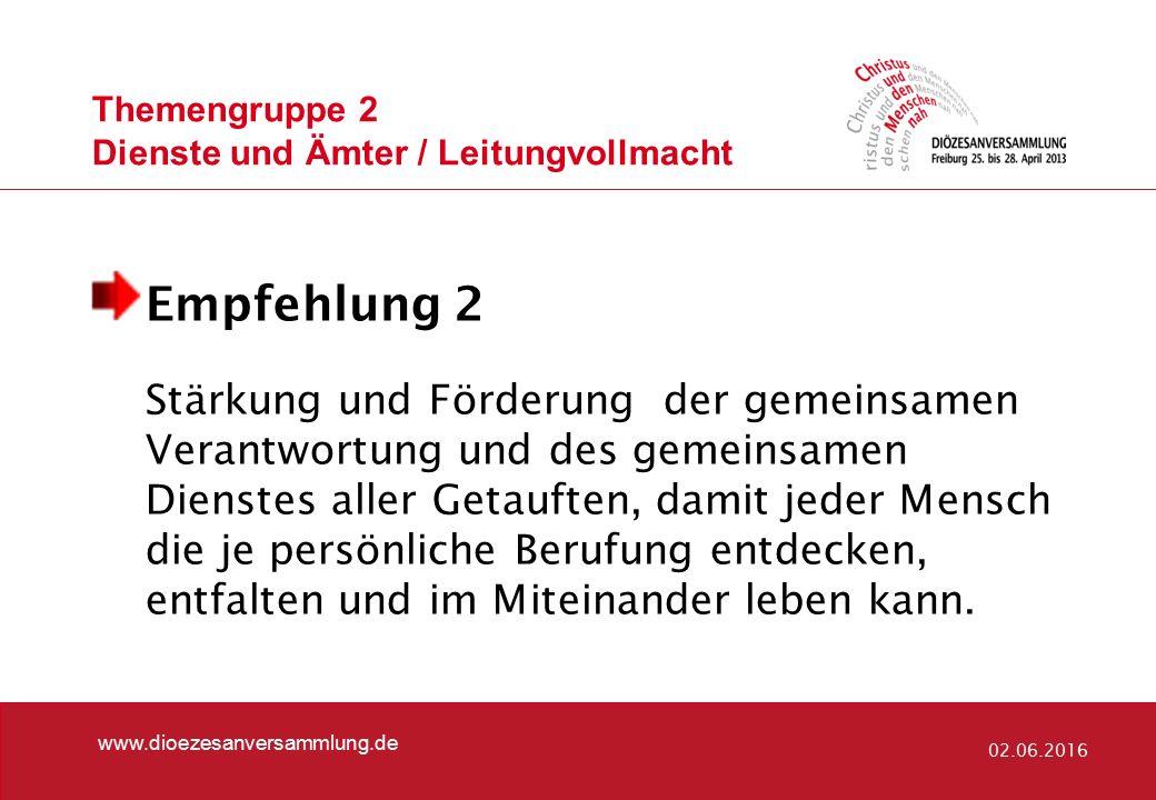 Themengruppe 2 Dienste und Ämter / Leitungvollmacht www.dioezesanversammlung.de 02.06.2016 Empfehlung 3 Um den Dienstcharakter des Amtes zu betonen, sind Frauen und Männer gleichermaßen zu allen Ämtern zuzulassen.