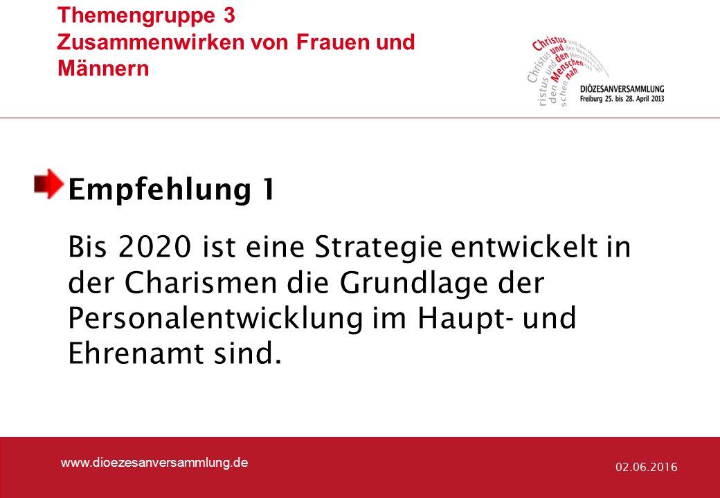 Themengruppe 3 Zusammenwirken von Frauen und Männern www.dioezesanversammlung.de 02.06.2016 Empfehlung 1 Bis 2020 ist eine Strategie entwickelt in der Charismen die Grundlage der Personalentwicklung im Haupt- und Ehrenamt sind.