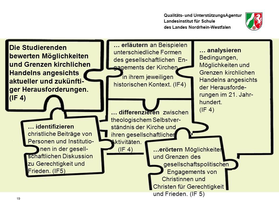 Qualitäts- und UnterstützungsAgentur Landesinstitut für Schule des Landes Nordrhein-Westfalen 19 Die Studierenden bewerten Möglichkeiten und Grenzen kirchlichen Handelns angesichts aktueller und zukünfti- ger Herausforderungen.