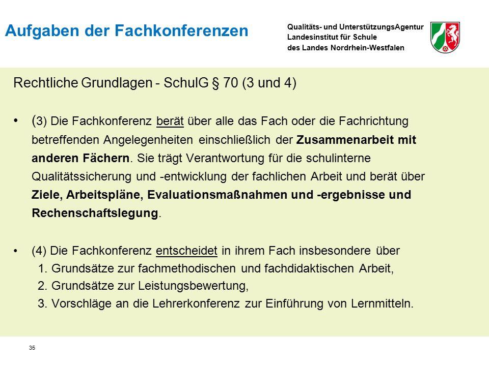 Qualitäts- und UnterstützungsAgentur Landesinstitut für Schule des Landes Nordrhein-Westfalen 35 Rechtliche Grundlagen - SchulG § 70 (3 und 4) ( 3) Die Fachkonferenz berät über alle das Fach oder die Fachrichtung betreffenden Angelegenheiten einschließlich der Zusammenarbeit mit anderen Fächern.