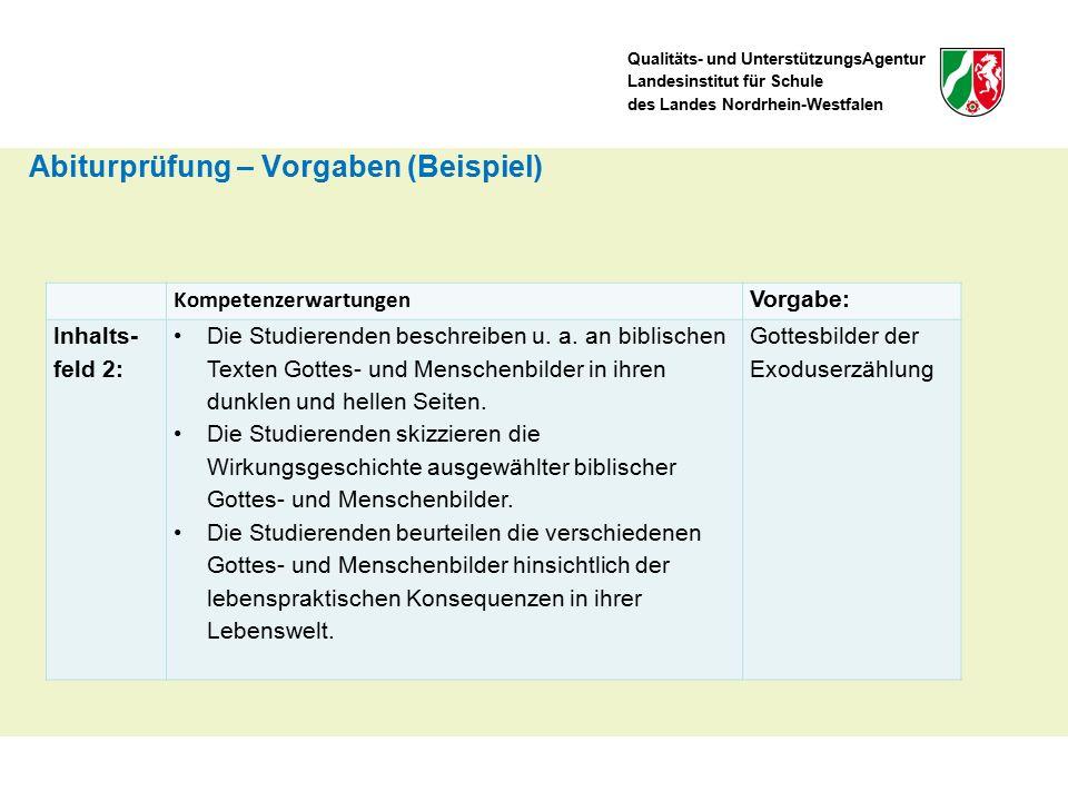 Qualitäts- und UnterstützungsAgentur Landesinstitut für Schule des Landes Nordrhein-Westfalen Kompetenzerwartungen Vorgabe: Inhalts- feld 2: Die Studierenden beschreiben u.