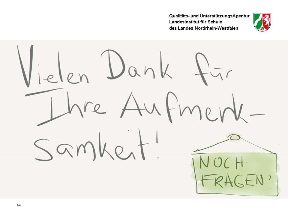 Qualitäts- und UnterstützungsAgentur Landesinstitut für Schule des Landes Nordrhein-Westfalen 54
