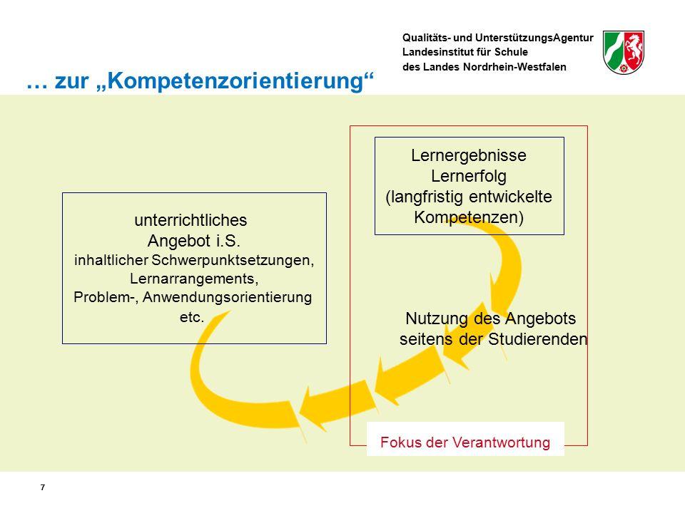 Qualitäts- und UnterstützungsAgentur Landesinstitut für Schule des Landes Nordrhein-Westfalen 28 Kompetenzerwartungen sind jeweils ausgewiesen … für das Ende der Einführungsphase und – differenziert nach Gk und Lk – das Ende der Qualifikationsphase als übergeordnete Kompetenzerwartungen für alle Kompetenzbereiche als konkretisierte, inhaltsfeldbezogene Kompetenzerwartungen für die Sach- und Urteilskompetenz Struktur des Kernlehrplans