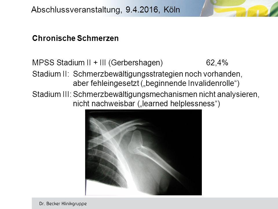 """Chronische Schmerzen MPSS Stadium II + III (Gerbershagen)62,4% Stadium II: Schmerzbewältigungsstrategien noch vorhanden, aber fehleingesetzt (""""beginnende Invalidenrolle ) Stadium III:Schmerzbewältigungsmechanismen nicht analysieren, nicht nachweisbar (""""learned helplessness ) Abschlussveranstaltung, 9.4.2016, Köln"""