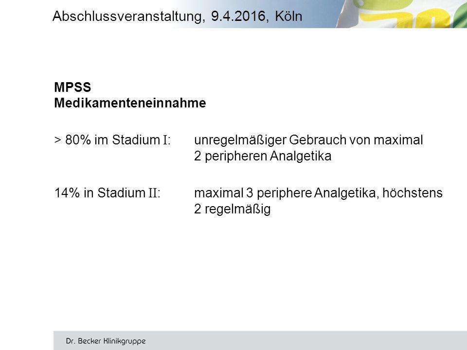 Abschlussveranstaltung, 9.4.2016, Köln MPSS Medikamenteneinnahme > 80% im Stadium I :unregelmäßiger Gebrauch von maximal 2 peripheren Analgetika 14% in Stadium II :maximal 3 periphere Analgetika, höchstens 2 regelmäßig