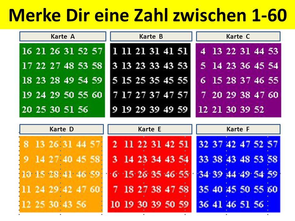 Merke Dir eine Zahl zwischen 1-60 Karte AKarte BKarte C Karte DKarte EKarte F
