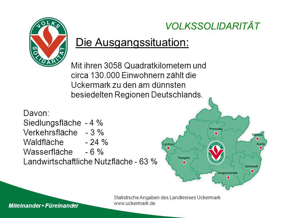 Miteinander Füreinander VOLKSSOLIDARITÄT Die Ausgangssituation: Mit ihren 3058 Quadratkilometern und circa 130.000 Einwohnern zählt die Uckermark zu den am dünnsten besiedelten Regionen Deutschlands.