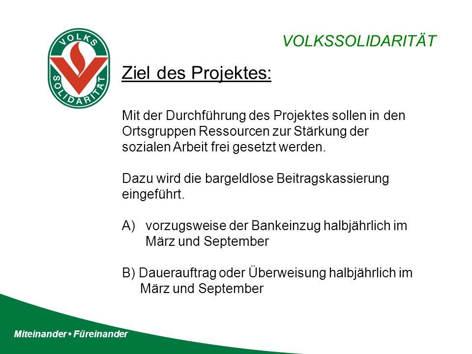 Miteinander Füreinander VOLKSSOLIDARITÄT Ziel des Projektes: Mit der Durchführung des Projektes sollen in den Ortsgruppen Ressourcen zur Stärkung der sozialen Arbeit frei gesetzt werden.