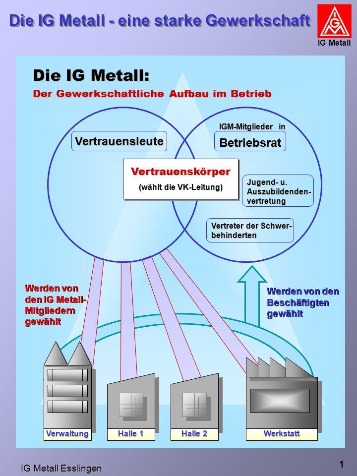 IG Metall Esslingen Die IG Metall - eine starke Gewerkschaft IG Metall 1 Die IG Metall: Der Gewerkschaftliche Aufbau im Betrieb Vertrauensleute IGM-Mitglieder in Betriebsrat Jugend- u.