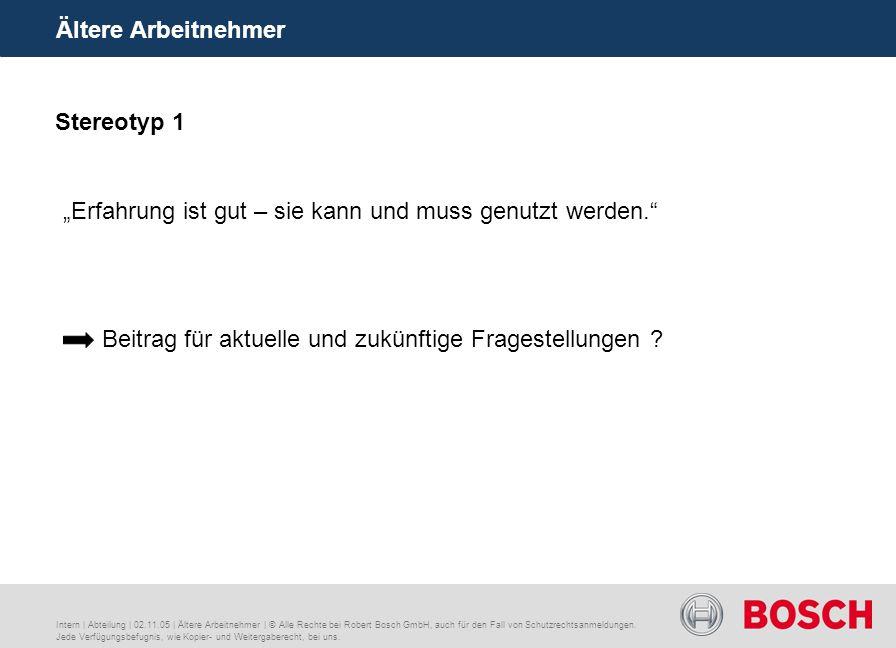 Ältere Arbeitnehmer Intern | Abteilung | 02.11.05 | Ältere Arbeitnehmer | © Alle Rechte bei Robert Bosch GmbH, auch für den Fall von Schutzrechtsanmeldungen.