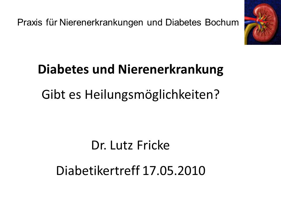 Diabeteseinstellung und Nephropathieentwicklung bei Typ-1 Diabetes I D iabetes C omplication and C ontrol T rial 676/673 Typ 1-Diabetiker Diabetesdauer 12 Jahre, Beobachtungszeit 6,5 Jahre Kontrolle intensive Therapie Hba1c 9,1 % 7,4 % Microalbuminurie 12,9 % 7,4 % Macroalbuminurie 3,0 % 1,5 % NEJM 1993, 329: 977-986