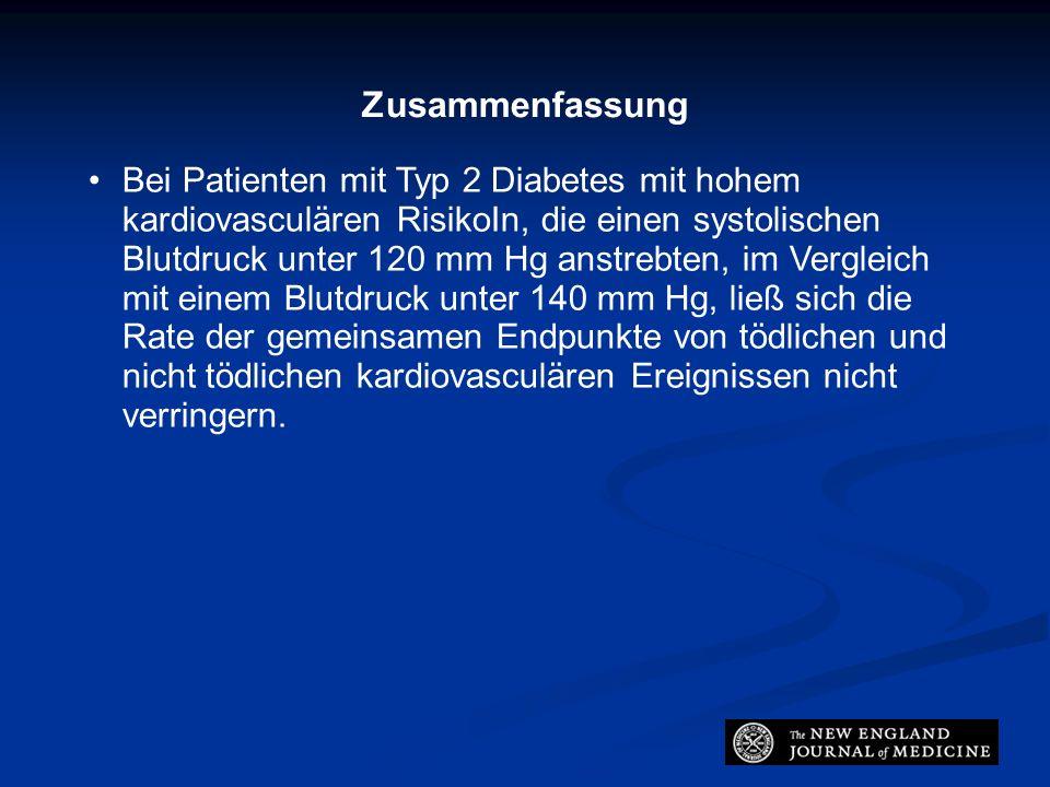 Zusammenfassung Bei Patienten mit Typ 2 Diabetes mit hohem kardiovasculären RisikoIn, die einen systolischen Blutdruck unter 120 mm Hg anstrebten, im Vergleich mit einem Blutdruck unter 140 mm Hg, ließ sich die Rate der gemeinsamen Endpunkte von tödlichen und nicht tödlichen kardiovasculären Ereignissen nicht verringern.