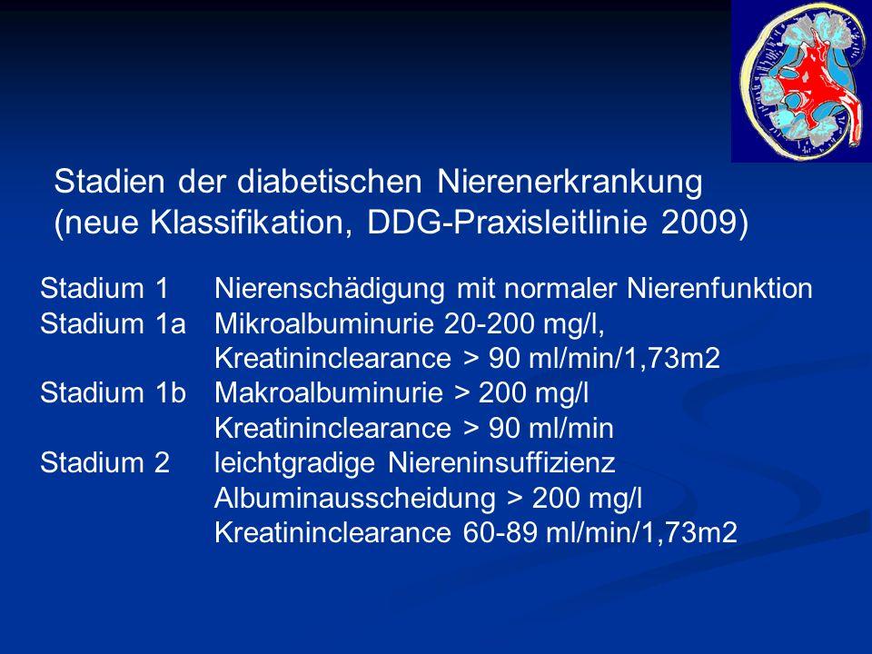 Stadien der diabetischen Nierenerkrankung (neue Klassifikation, DDG-Praxisleitlinie 2009) Stadium 1 Nierenschädigung mit normaler Nierenfunktion Stadium 1a Mikroalbuminurie 20-200 mg/l, Kreatininclearance > 90 ml/min/1,73m2 Stadium 1bMakroalbuminurie > 200 mg/l Kreatininclearance > 90 ml/min Stadium 2leichtgradige Niereninsuffizienz Albuminausscheidung > 200 mg/l Kreatininclearance 60-89 ml/min/1,73m2