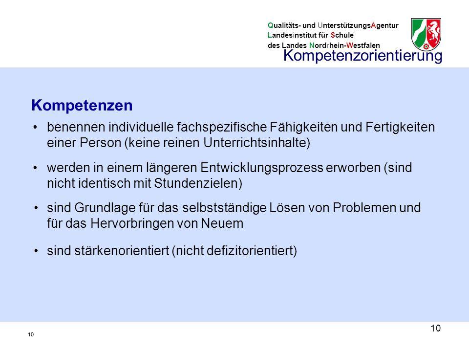Qualitäts- und UnterstützungsAgentur Landesinstitut für Schule des Landes Nordrhein-Westfalen 10 benennen individuelle fachspezifische Fähigkeiten und Fertigkeiten einer Person (keine reinen Unterrichtsinhalte) Kompetenzen werden in einem längeren Entwicklungsprozess erworben (sind nicht identisch mit Stundenzielen) sind Grundlage für das selbstständige Lösen von Problemen und für das Hervorbringen von Neuem sind stärkenorientiert (nicht defizitorientiert) Kompetenzorientierung 10