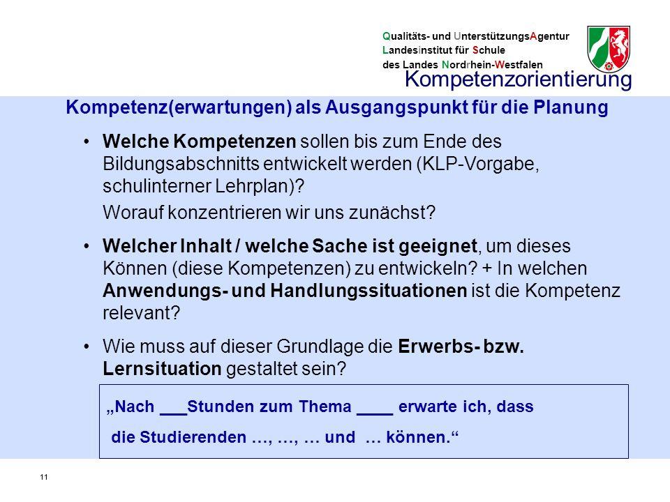 Qualitäts- und UnterstützungsAgentur Landesinstitut für Schule des Landes Nordrhein-Westfalen 11 Welche Kompetenzen sollen bis zum Ende des Bildungsabschnitts entwickelt werden (KLP-Vorgabe, schulinterner Lehrplan).