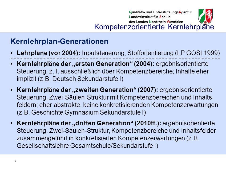 """Qualitäts- und UnterstützungsAgentur Landesinstitut für Schule des Landes Nordrhein-Westfalen 12 Kernlehrplan-Generationen Lehrpläne (vor 2004): Inputsteuerung, Stofforientierung (LP GOSt 1999) Kernlehrpläne der """"ersten Generation (2004): ergebnisorientierte Steuerung, z.T."""