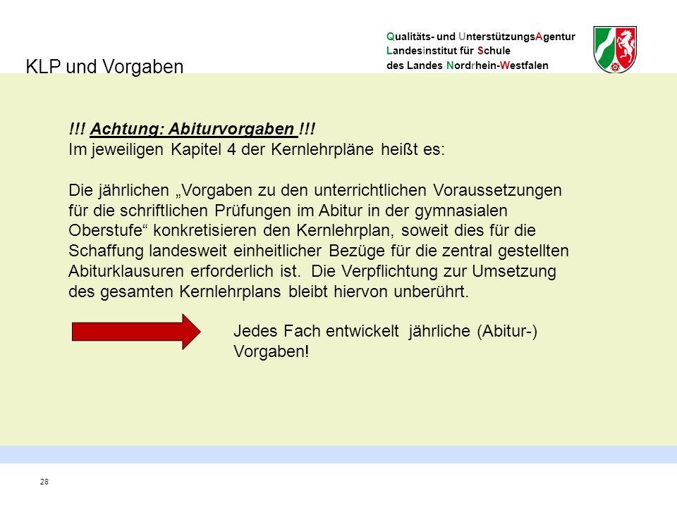 Qualitäts- und UnterstützungsAgentur Landesinstitut für Schule des Landes Nordrhein-Westfalen 28 KLP und Vorgaben !!.