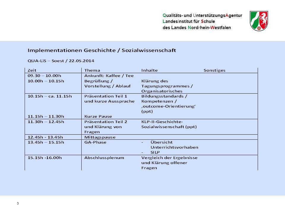 Qualitäts- und UnterstützungsAgentur Landesinstitut für Schule des Landes Nordrhein-Westfalen Kompetenzorientierte Kernlehrpläne Zentrale Begriffe und Ebenen im Kernlehrplan (I) Kompetenzbereiche: Systematisieren die kognitiven Prozesse – Sach-, Methoden-, Urteils- und Handlungskompetenz Inhaltsfelder: Systematisieren die Gegenstände, sind nicht mit Unterrichtsvorhaben gleichzusetzen – Beispiele: 1.