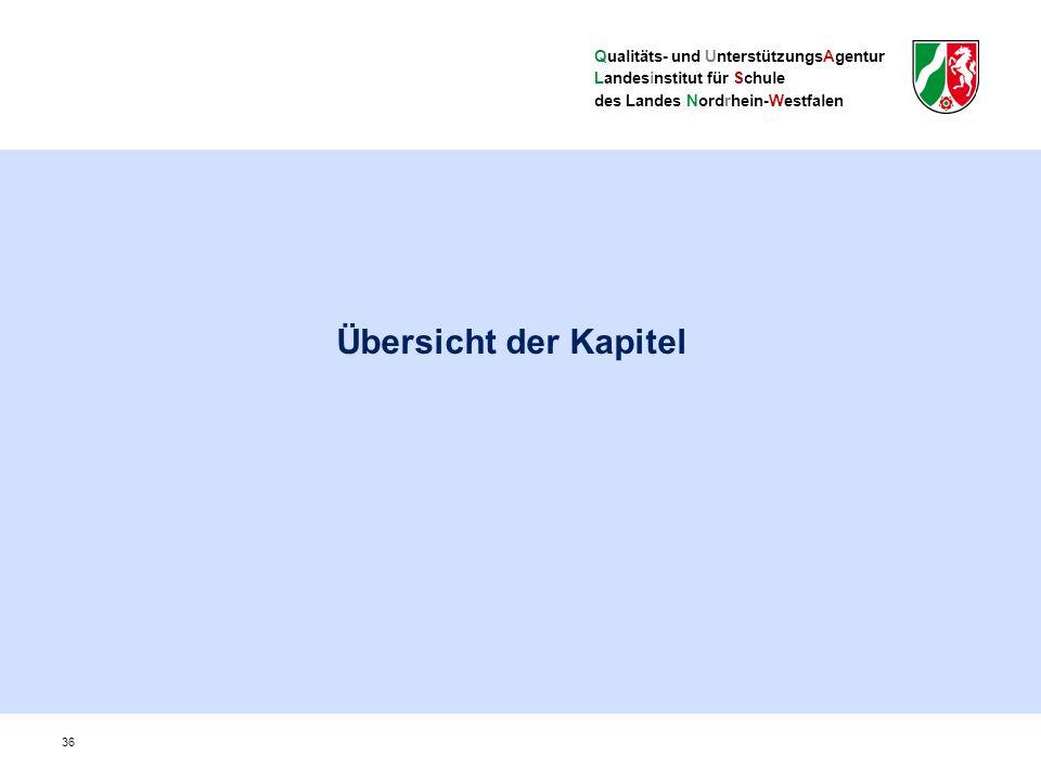 Qualitäts- und UnterstützungsAgentur Landesinstitut für Schule des Landes Nordrhein-Westfalen Übersicht der Kapitel 36