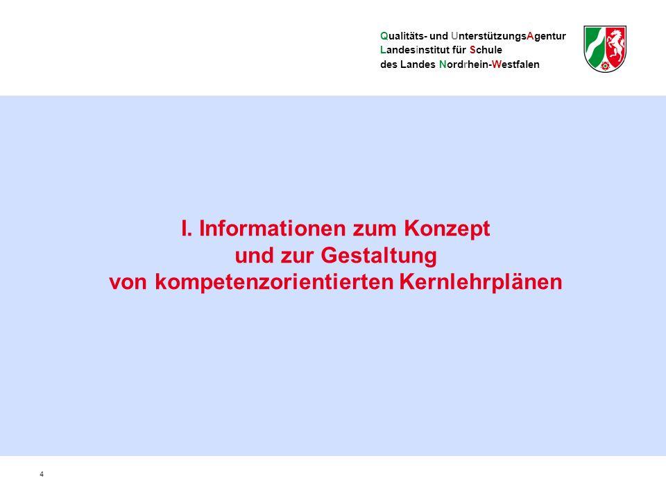 Qualitäts- und UnterstützungsAgentur Landesinstitut für Schule des Landes Nordrhein-Westfalen Zentrale Begriffe und Ebenen im Kernlehrplan (II) Übergeordnete Kompetenzerwartungen: Inhaltsfeldübergreifende Kompetenzerwartungen aus allen Kompetenzbereichen, mit Progression Konkretisierte Kompetenzerwartungen: Inhaltsfeldbezogene Kompetenzerwartungen als heruntergebrochene Zusammenführung von Prozessen und Gegenständen (Sach- und Urteilskompetenzen) Kompetenzorientierte Kernlehrpläne 15