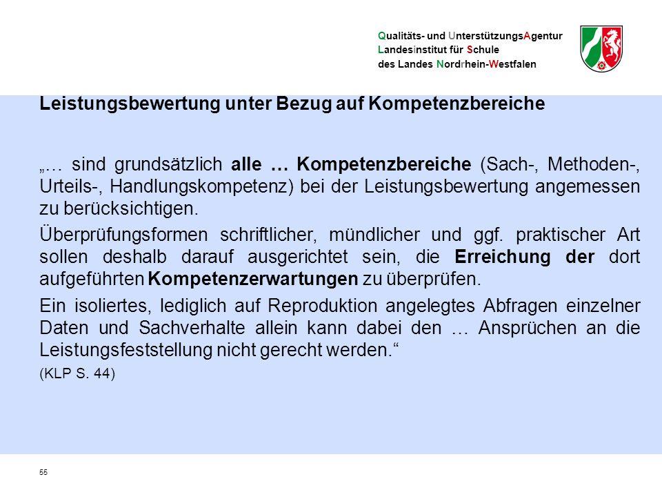 """Qualitäts- und UnterstützungsAgentur Landesinstitut für Schule des Landes Nordrhein-Westfalen Leistungsbewertung unter Bezug auf Kompetenzbereiche """" … sind grundsätzlich alle … Kompetenzbereiche (Sach-, Methoden-, Urteils-, Handlungskompetenz) bei der Leistungsbewertung angemessen zu berücksichtigen."""