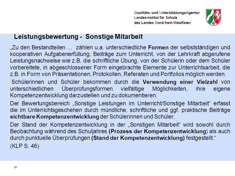 """Qualitäts- und UnterstützungsAgentur Landesinstitut für Schule des Landes Nordrhein-Westfalen Leistungsbewertung - Sonstige Mitarbeit """"Zu den Bestandteilen … zählen u.a."""