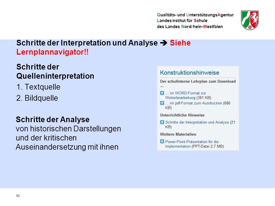 Qualitäts- und UnterstützungsAgentur Landesinstitut für Schule des Landes Nordrhein-Westfalen Schritte der Interpretation und Analyse  Siehe Lernplannavigator!.