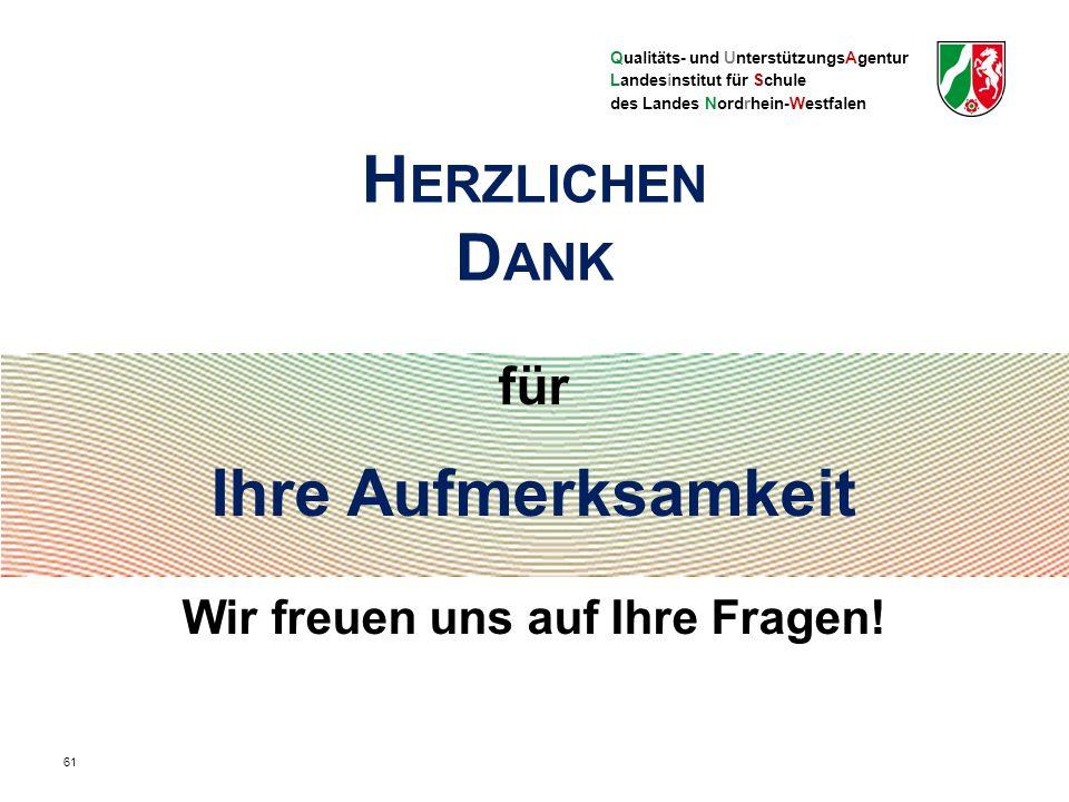 Qualitäts- und UnterstützungsAgentur Landesinstitut für Schule des Landes Nordrhein-Westfalen für Ihre Aufmerksamkeit Wir freuen uns auf Ihre Fragen.