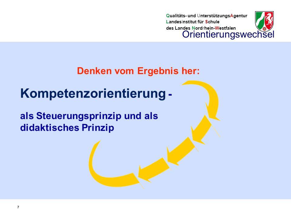 Qualitäts- und UnterstützungsAgentur Landesinstitut für Schule des Landes Nordrhein-Westfalen 77 als Steuerungsprinzip und als didaktisches Prinzip Kompetenzorientierung - Orientierungswechsel Denken vom Ergebnis her: 7