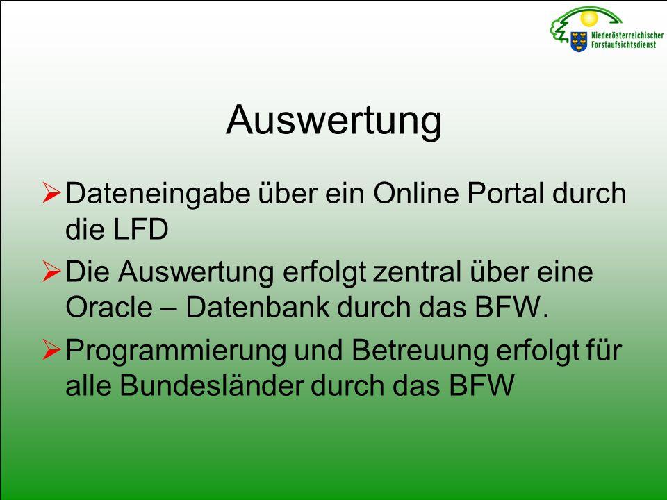 Auswertung  Dateneingabe über ein Online Portal durch die LFD  Die Auswertung erfolgt zentral über eine Oracle – Datenbank durch das BFW.